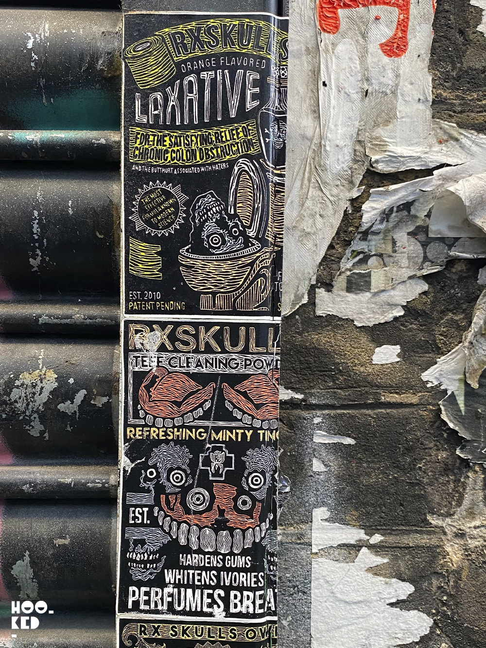 England - London street art stickers by artist RX Skull