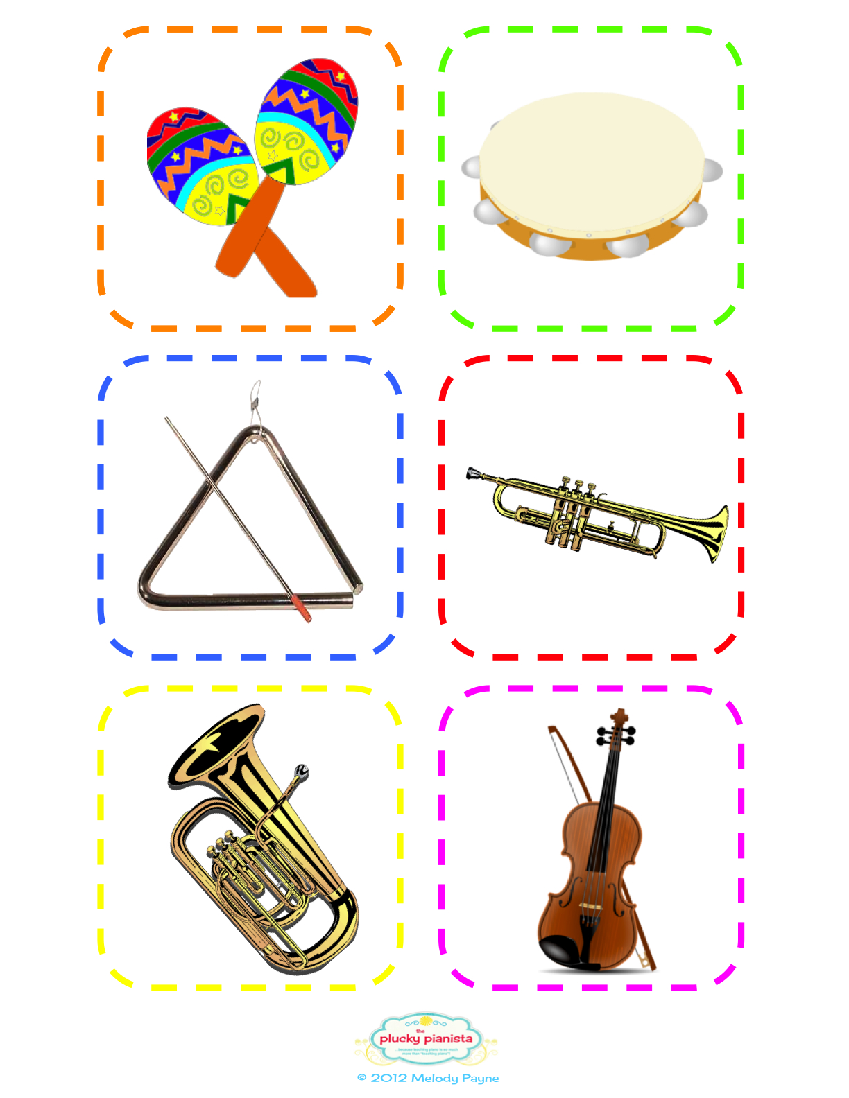 The Plucky Pianista Musical Instrument Flash Cards