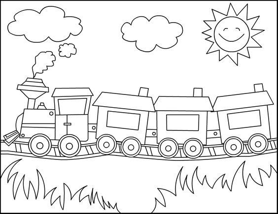 Tranh tô màu đoàn tàu hỏa đẹp