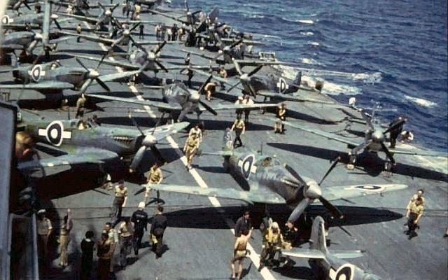 Seafires of 887 Sqn. on HMS Indefatigable in November 1945 worldwartwo.filminspector.com