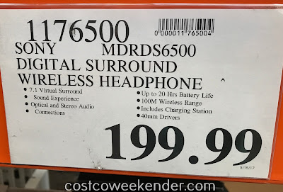 Deal for the Sony MDR-DS6500 Digital Surround Headphone System at Costco