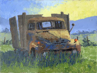 painting art rustic rusty truck abandoned Ford vintage