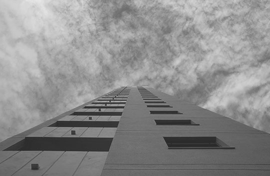 black and white photography, architecture, modern, hotel, sky, Sam Freek, concrete,