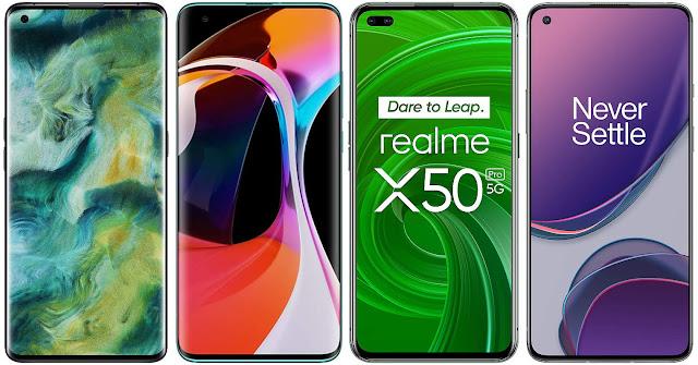 Oppo Find X2 vs Xiaomi Mi 10 vs Realme X50 Pro vs OnePlus 8T