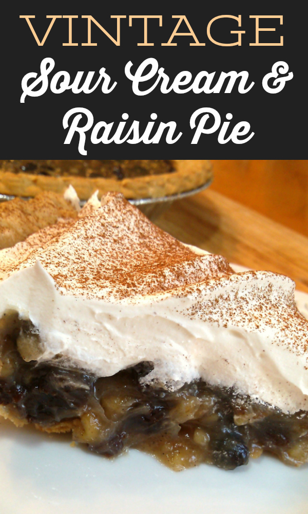 A retro recipe for sour cream and raisin pie with warm spices, pecans (or walnuts) and whipped cream topping. Perfect for Thanksgiving!