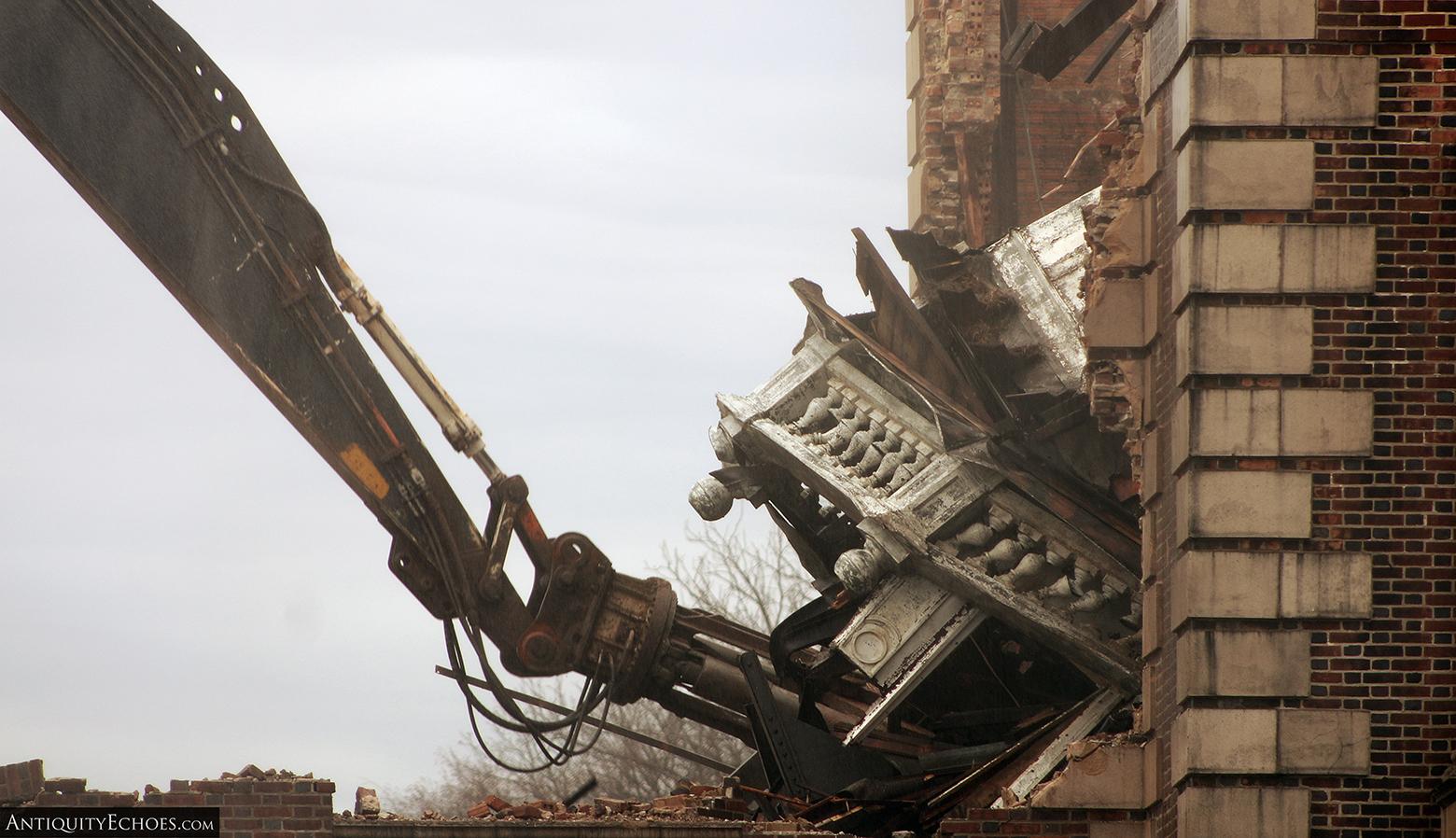 Allentown State Hospital - Demolition - Spire Being Torn Apart