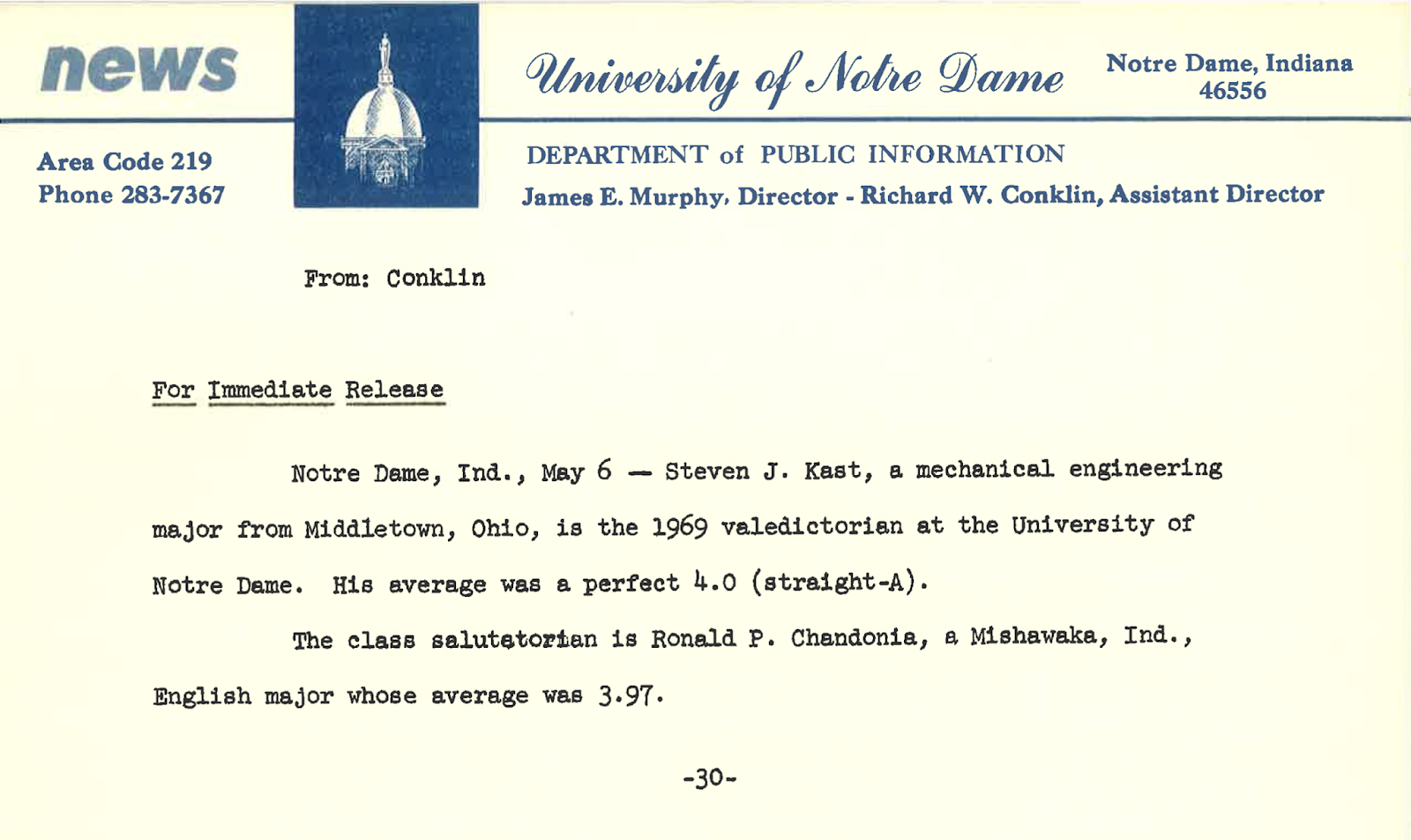 The University Of Notre Dame Class Of 1969 Blog May 31