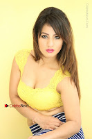 Cute Telugu Actress Shunaya Solanki High Definition Spicy Pos in Yellow Top and Skirt  0263.JPG