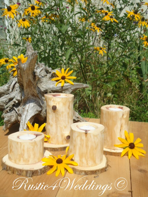 Rustic weddings cedar wedding candle holders wood