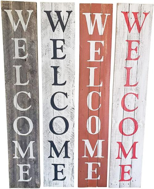 Wooden Front Door Welcome Signs