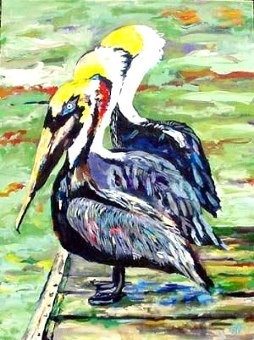 Pelicans on Pier Painting