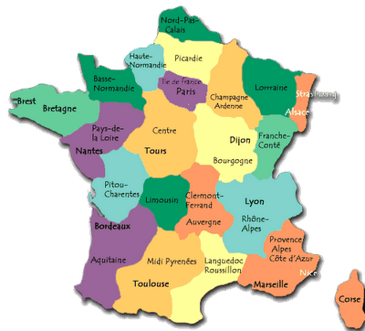 Cartina Topografica Della Francia.Carta Delle Regioni Sito Web Della Prof Ssa Raffaelli