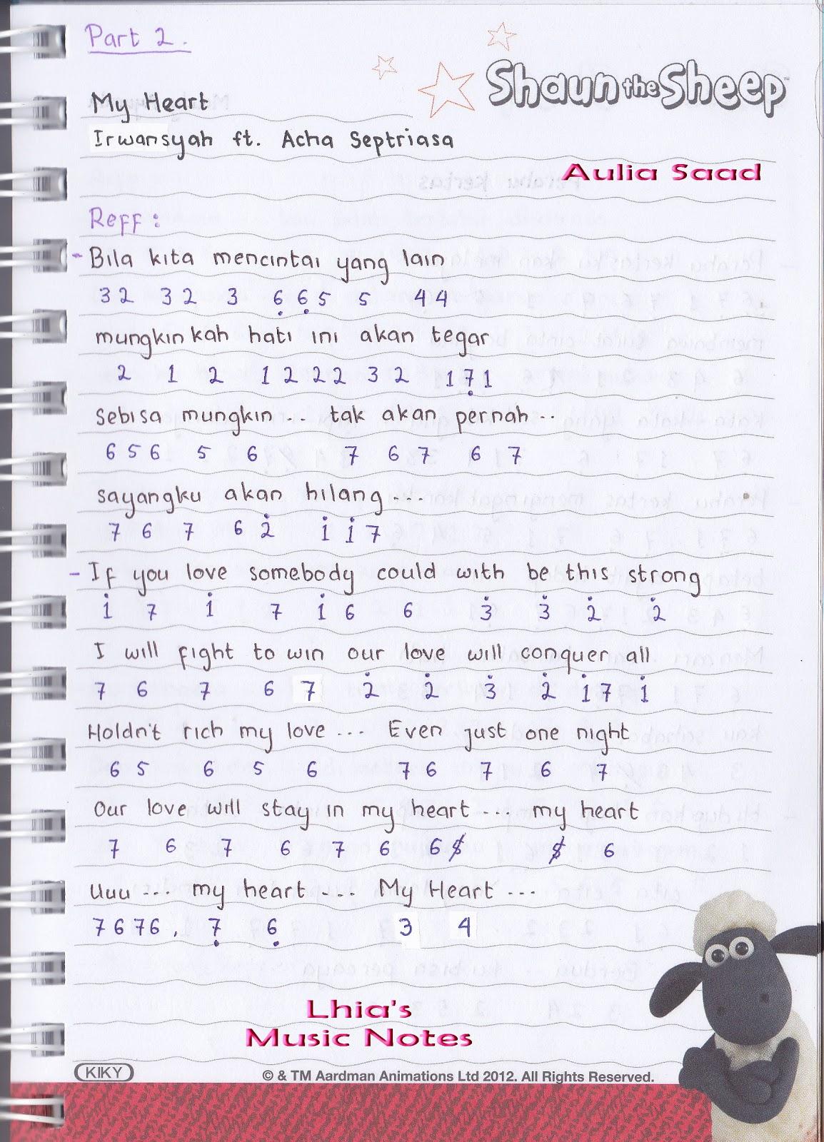 lagu my heart irwansyah dan acha lirik