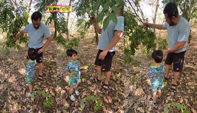 बगीचे में अपने भांजे के साथ फल तोड़कर मस्ती करते हुए नजर आये सलमान खान