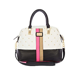 River Island White Quilted Contrast Panel Bowler Bag