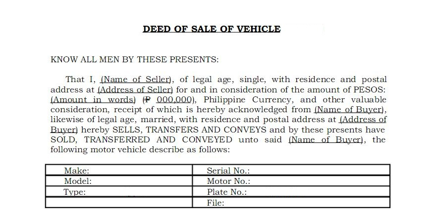 Everything You Need to Know about Vehicle\u0027s Deed of Sale The News Bite