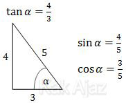 Cara menentuka cos α dan tan α dengan segitiga trigonometr, tan α = 3/4, cos α = 3/5