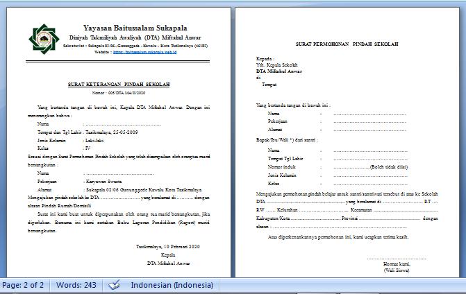 Surat Keterangan Pindah Sekolah dan Surat Permohonan Pindah Sekolah
