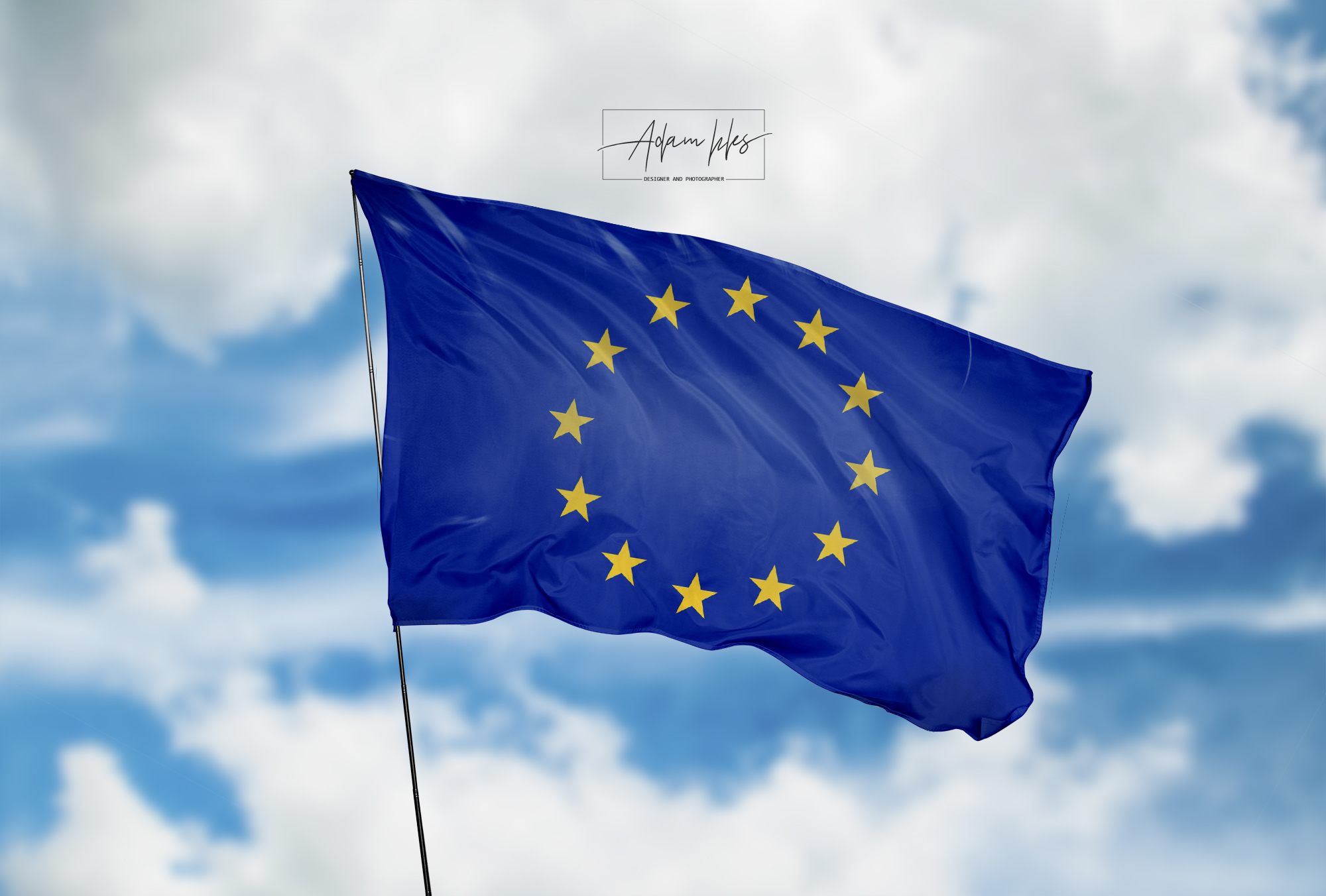 تحميل اجمل خلفية الاتحاد الاوروبي علم الاتحاد الاوروبي يرفرف في السماء
