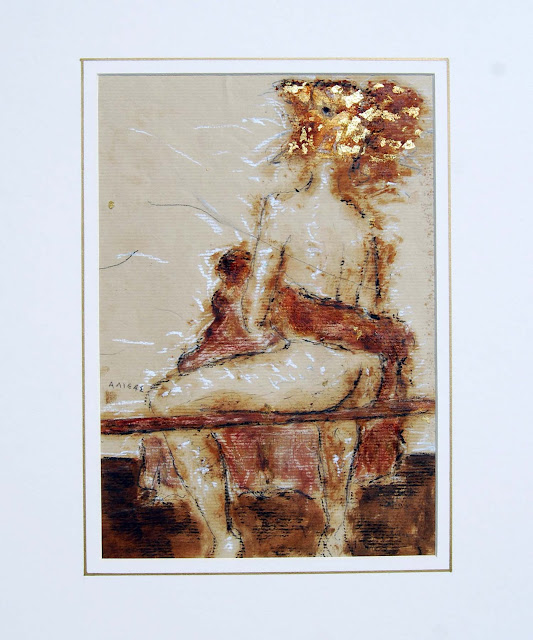 naked woman with bird head alexander alieas pastel pencil gold sheet on paper 2250 x 3250 cm dimensions with frame 51cm x 41cm