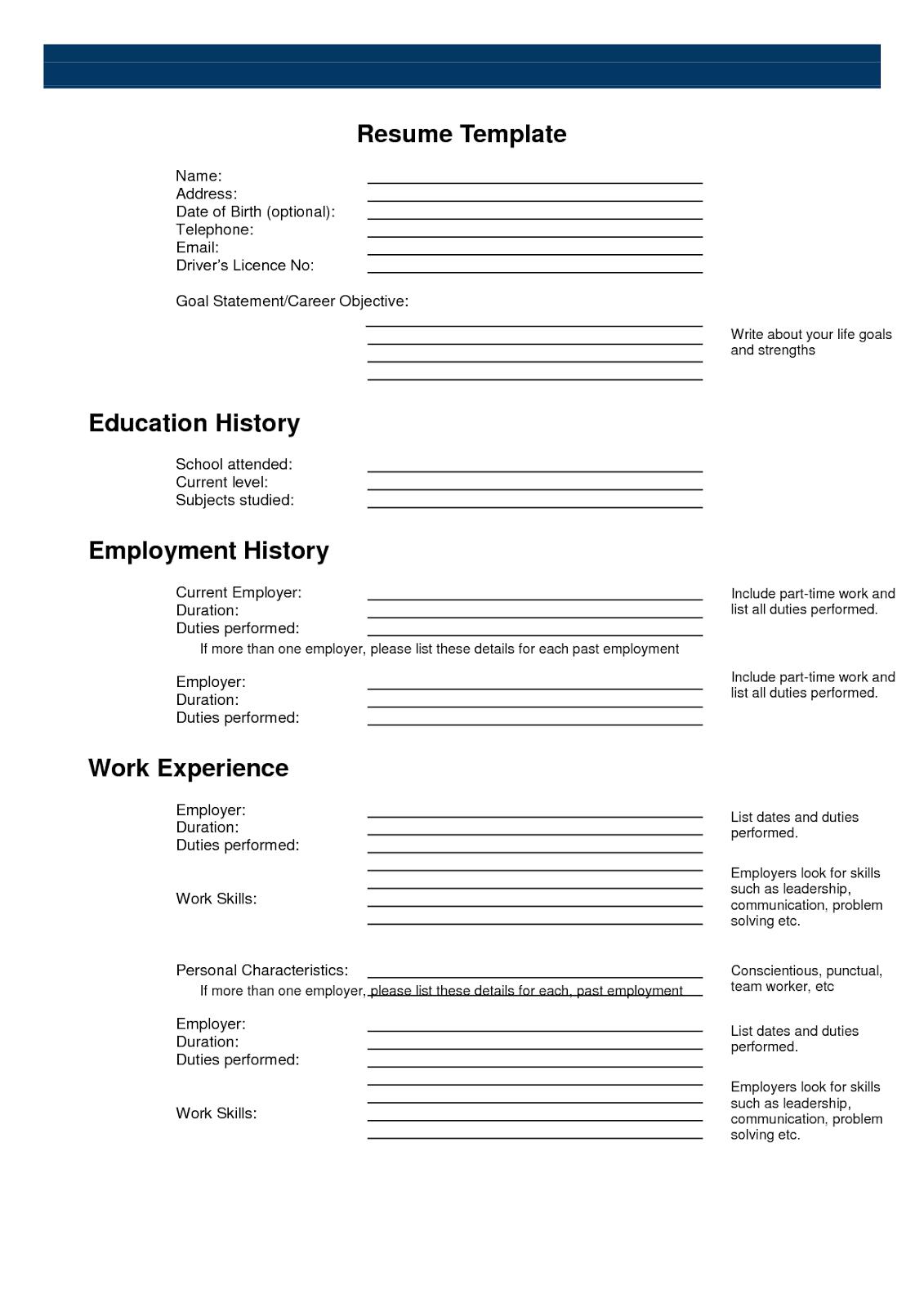 Free Resume Templates  Formate  Printable Sample