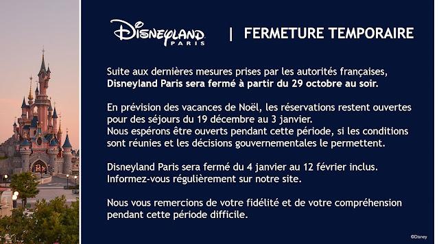 Temporary closure announcement for Disneyland Paris (October, 2020)