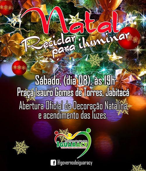NESTE SÁBADO EM JABITACÁ - Governo Municipal realiza a Abertura Oficial da Decoração Natalina e Acendimento das Luzes. Veja detalhes: