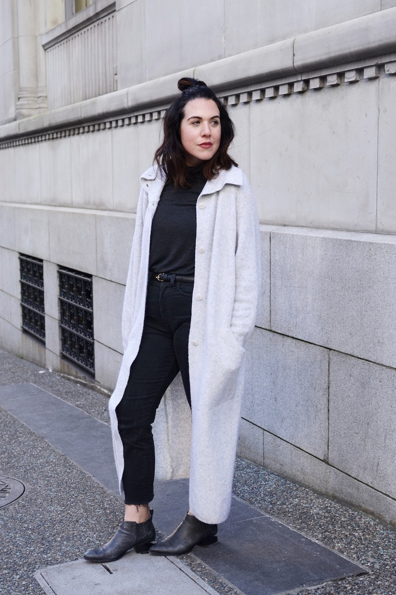 topknot vancouver fashion blogger cute winter outfit levi's wedgie jeans alexander wang kori boots cardigan coat