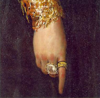 The Duchess of Alba by Goya, detail - rings on her fingers
