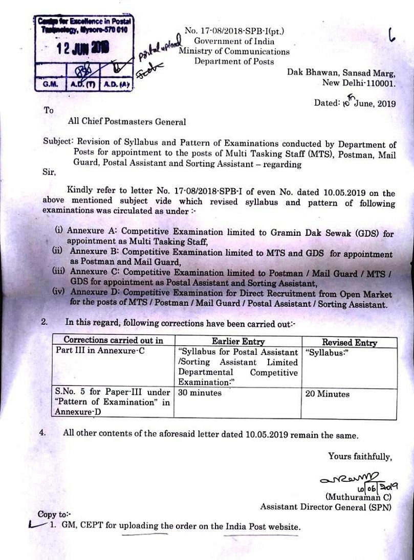 Revision of Syllabus & Pattern of Examination for MTS/PM/MG/PA/SA in DoP