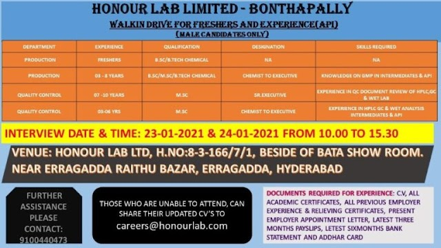 Honour Labs | Walk-in interview for Production & QC on 23&24th Jan 2021