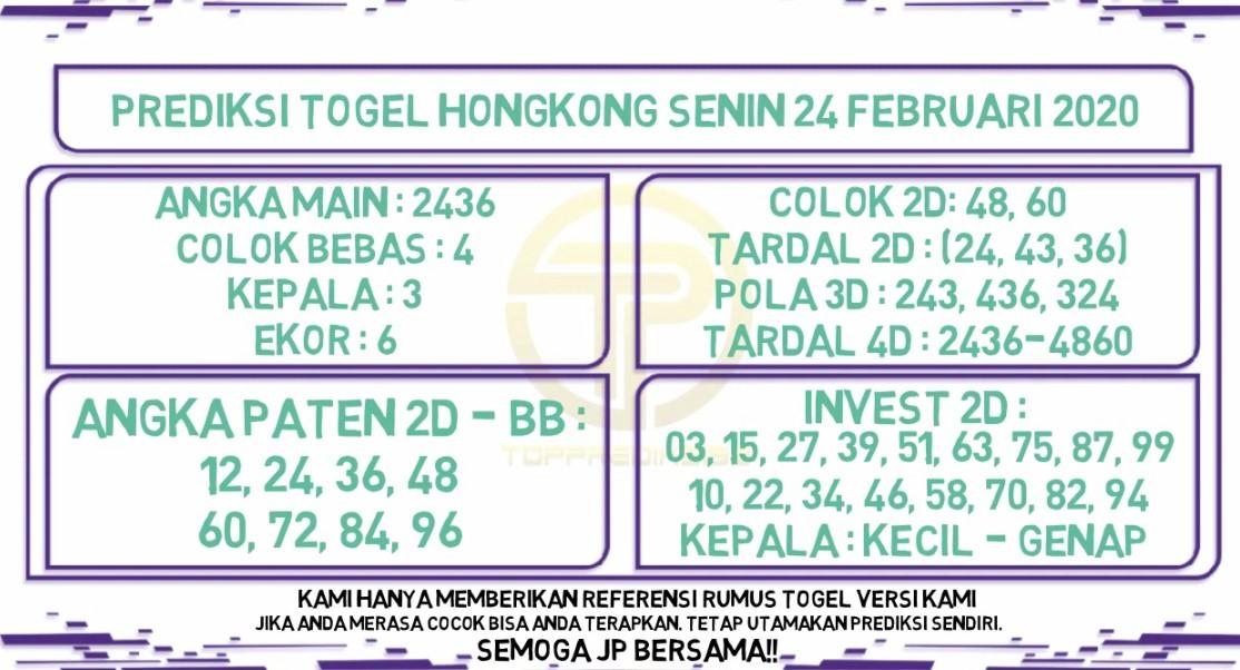 Prediksi Togel JP Hongkong 24 Februari 2020 - Prediksi Togel JP