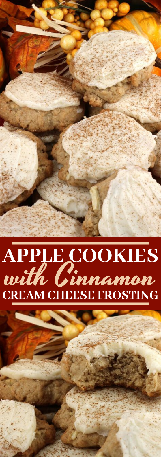 Apple Cookies with Cinnamon Cream Cheese Frosting #cookies #recipes #baking #fall #desserts