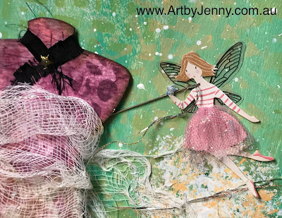 close up of mixed media artwork by Jenny James using Tim Holtz and Dylusions art supplies