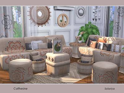 Catherine Гостиная Екатерина для The Sims 4 Набор для ваших жилых комнат. Включает в себя 12 объектов, имеет 3 цветовые палитры. Предметы в наборе: - диванчик, - диван, - четыре вида подушек, - пуф, - два журнальных столика, - два вида штор, - ковер Автор: soloriya