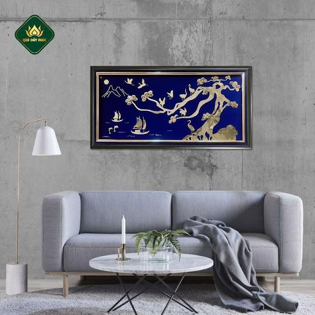 tranh phong cảnh đẹp sông nước phong thủy mạ vàng