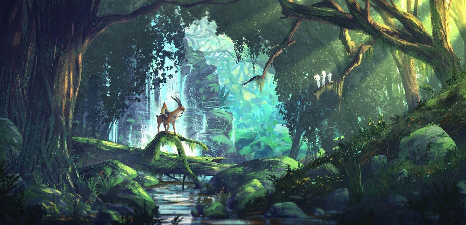 Ashitaka in the Spirit Forest  hd wallpaper