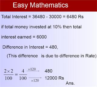 विकास ने कुल ₹30000 उधार लिए इसका एक भाग 12% वार्षिक साधारण ब्याज की दर से तथा शेष भाग 10% वार्षिक साधारण ब्याज की दर से लिया गया यदि 2 वर्ष बाद कुल ₹36480 का भुगतान किया गया हो तो 12% की दर पर ली गई राशि कितनी थी?