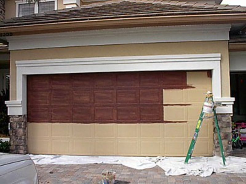 painting garage door before and after #1