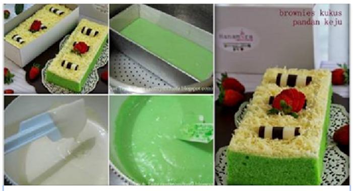 Resep Bolu Jadul Ny Liem: Resep Membuat Kue Brownies Keju Pandan Kukus Ny Liem