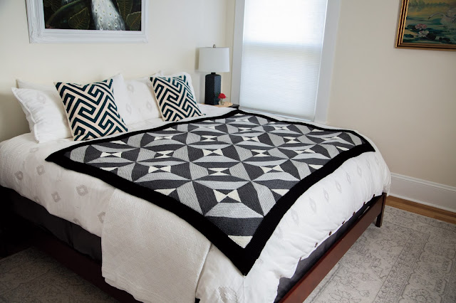 cloudy day throw, blanket, knit picks, collection, modular, grey, black, white