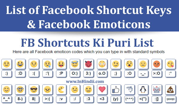 List of Facebook Shortcut Keys and Facebook Emoticons