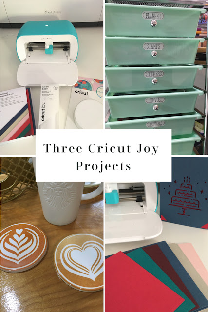 Cricut Joy is the perfect companion to quickly and easily personalize anything in 15 minutes or less. I made a birthday card, organization labels with smart vinyl, and infusible ink coasters in an afternoon.