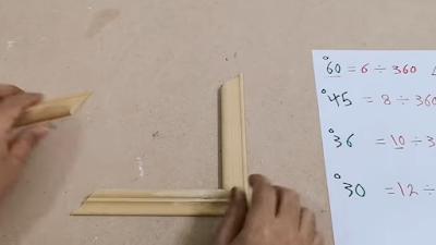 تجميع ألواح خشبية مقصوصة بزاوية 45 لعمل برواز شكل مربع