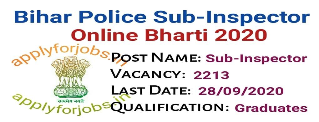 Bihar Police SI Online Form 2020, applyforjobs.in, online jobs.