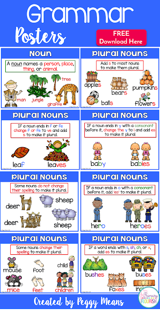 These grammar posters will help your students master 8 rules for making nouns plural.