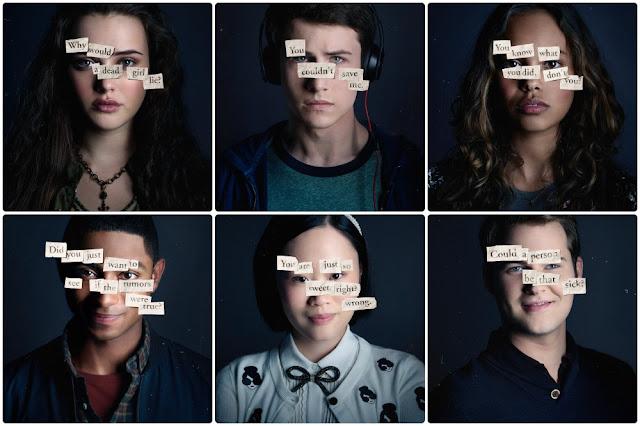Carteles promocionales con algunos de los personajes de la serie, Hannah Baker, arriba a la izquierda