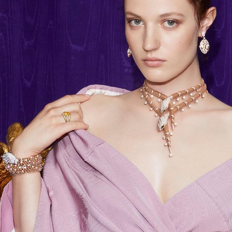 Julia Banas stars in Bulgari Barocko High Jewelry campaign.