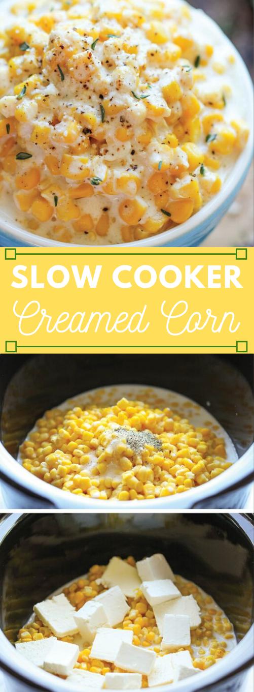 SLOW COOKER CREAMED CORN #healthydinner #corn #cooker #lunch #noodle