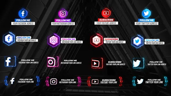 Videohive - Neon Social Media Lower Thirds V2 - 28636724